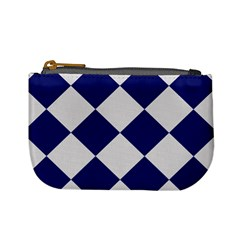 Harlequin Diamond Argyle Sports Team Colors Navy Blue Silver Coin Change Purse
