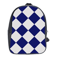 Harlequin Diamond Argyle Sports Team Colors Navy Blue Silver School Bag (large) by CrypticFragmentsColors