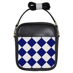 Harlequin Diamond Argyle Sports Team Colors Navy Blue Silver Girl s Sling Bag by CrypticFragmentsColors