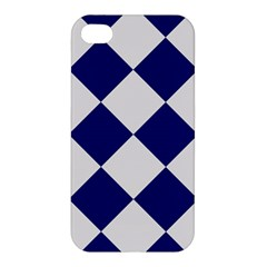 Harlequin Diamond Argyle Sports Team Colors Navy Blue Silver Apple Iphone 4/4s Premium Hardshell Case by CrypticFragmentsColors