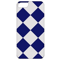 Harlequin Diamond Argyle Sports Team Colors Navy Blue Silver Apple Iphone 5 Classic Hardshell Case by CrypticFragmentsColors