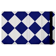 Harlequin Diamond Argyle Sports Team Colors Navy Blue Silver Apple Ipad 3/4 Flip Case by CrypticFragmentsColors