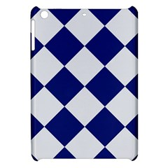 Harlequin Diamond Argyle Sports Team Colors Navy Blue Silver Apple Ipad Mini Hardshell Case by CrypticFragmentsColors