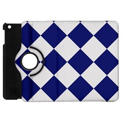 Harlequin Diamond Argyle Sports Team Colors Navy Blue Silver Apple Ipad Mini Flip 360 Case by CrypticFragmentsColors