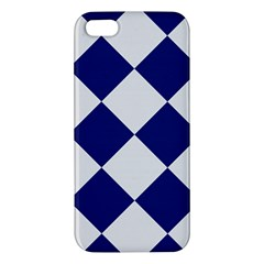 Harlequin Diamond Argyle Sports Team Colors Navy Blue Silver Apple Iphone 5 Premium Hardshell Case