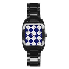 Harlequin Diamond Argyle Sports Team Colors Navy Blue Silver Stainless Steel Barrel Watch by CrypticFragmentsColors