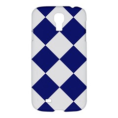 Harlequin Diamond Argyle Sports Team Colors Navy Blue Silver Samsung Galaxy S4 I9500/i9505 Hardshell Case by CrypticFragmentsColors