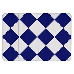 Harlequin Diamond Argyle Sports Team Colors Navy Blue Silver Samsung Galaxy Tab 8 9  P7300 Flip Case by CrypticFragmentsColors