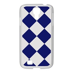 Harlequin Diamond Argyle Sports Team Colors Navy Blue Silver Samsung Galaxy S4 I9500/ I9505 Case (white) by CrypticFragmentsColors