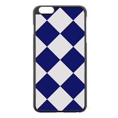 Harlequin Diamond Argyle Sports Team Colors Navy Blue Silver Apple Iphone 6 Plus Black Enamel Case by CrypticFragmentsColors