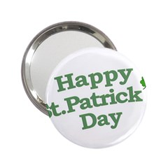 Happy St Patricks Text With Clover Graphic Handbag Mirror (2 25 ) by dflcprints