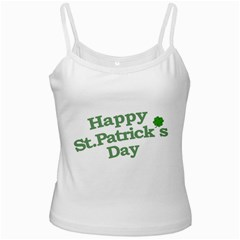 Happy St Patricks Text With Clover Graphic White Spaghetti Top by dflcprints