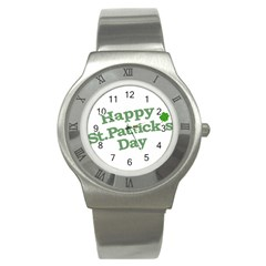 Happy St Patricks Text With Clover Graphic Stainless Steel Watch (slim) by dflcprints