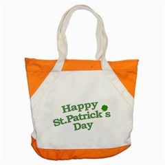 Happy St Patricks Text With Clover Graphic Accent Tote Bag by dflcprints