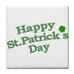 Happy St Patricks Text With Clover Graphic Face Towel by dflcprints