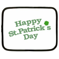 Happy St Patricks Text With Clover Graphic Netbook Sleeve (xl) by dflcprints