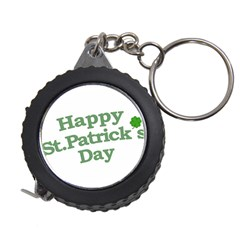 Happy St Patricks Text With Clover Graphic Measuring Tape by dflcprints