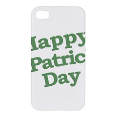 Happy St Patricks Text With Clover Graphic Apple Iphone 4/4s Hardshell Case by dflcprints