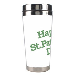 Happy St Patricks Text With Clover Graphic Stainless Steel Travel Tumbler by dflcprints