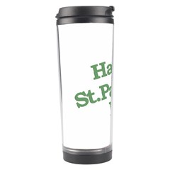 Happy St Patricks Text With Clover Graphic Travel Tumbler by dflcprints