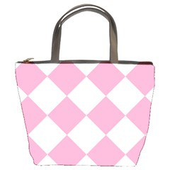 Harlequin Diamond Pattern Pink White Bucket Handbag