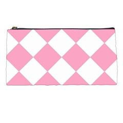 Harlequin Diamond Pattern Pink White Pencil Case by CrypticFragmentsColors