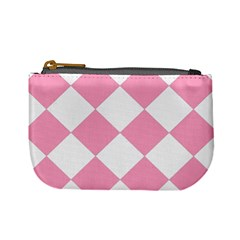 Harlequin Diamond Pattern Pink White Coin Change Purse by CrypticFragmentsColors