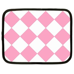Harlequin Diamond Pattern Pink White Netbook Sleeve (xl) by CrypticFragmentsColors
