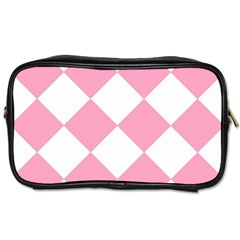 Harlequin Diamond Pattern Pink White Travel Toiletry Bag (one Side) by CrypticFragmentsColors