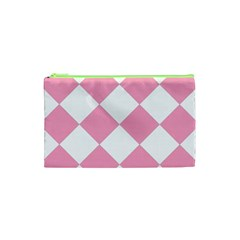 Harlequin Diamond Pattern Pink White Cosmetic Bag (xs)