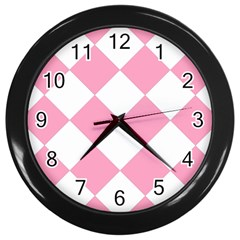 Harlequin Diamond Pattern Pink White Wall Clock (black)