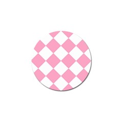 Harlequin Diamond Pattern Pink White Golf Ball Marker 4 Pack by CrypticFragmentsColors