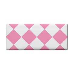 Harlequin Diamond Pattern Pink White Hand Towel by CrypticFragmentsColors
