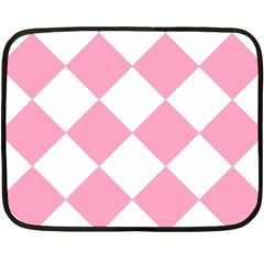 Harlequin Diamond Pattern Pink White Mini Fleece Blanket (two Sided) by CrypticFragmentsColors