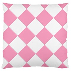Harlequin Diamond Pattern Pink White Large Cushion Case (two Sided)  by CrypticFragmentsColors