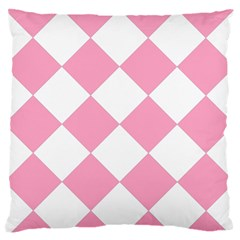 Harlequin Diamond Pattern Pink White Large Flano Cushion Case (one Side) by CrypticFragmentsColors