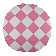 Harlequin Diamond Pattern Pink White 18  Premium Flano Round Cushion