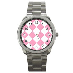 Harlequin Diamond Pattern Pink White Sport Metal Watch by CrypticFragmentsColors
