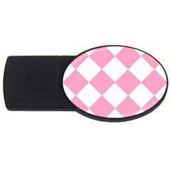 Harlequin Diamond Pattern Pink White 4gb Usb Flash Drive (oval) by CrypticFragmentsColors