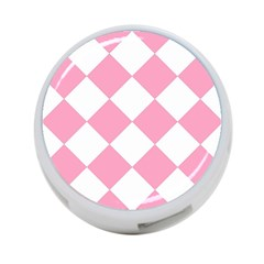 Harlequin Diamond Pattern Pink White 4 Port Usb Hub (one Side) by CrypticFragmentsColors
