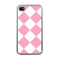 Harlequin Diamond Pattern Pink White Apple Iphone 4 Case (clear) by CrypticFragmentsColors