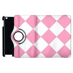 Harlequin Diamond Pattern Pink White Apple Ipad 3/4 Flip 360 Case