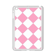 Harlequin Diamond Pattern Pink White Apple Ipad Mini 2 Case (white) by CrypticFragmentsColors