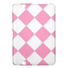 Harlequin Diamond Pattern Pink White Kindle Fire Hd 8 9  Hardshell Case by CrypticFragmentsColors