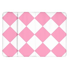 Harlequin Diamond Pattern Pink White Samsung Galaxy Tab 8 9  P7300 Flip Case by CrypticFragmentsColors