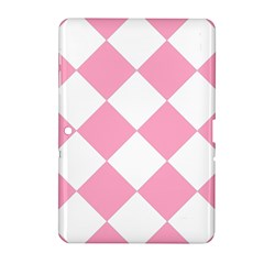 Harlequin Diamond Pattern Pink White Samsung Galaxy Tab 2 (10 1 ) P5100 Hardshell Case  by CrypticFragmentsColors