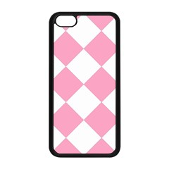 Harlequin Diamond Pattern Pink White Apple Iphone 5c Seamless Case (black) by CrypticFragmentsColors