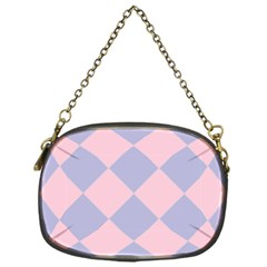 Harlequin Diamond Argyle Pastel Pink Blue Chain Purse (one Side) by CrypticFragmentsColors