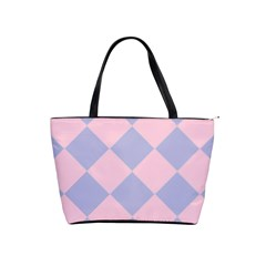 Harlequin Diamond Argyle Pastel Pink Blue Large Shoulder Bag by CrypticFragmentsColors