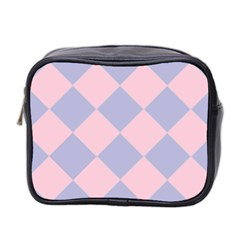 Harlequin Diamond Argyle Pastel Pink Blue Mini Travel Toiletry Bag (two Sides) by CrypticFragmentsColors